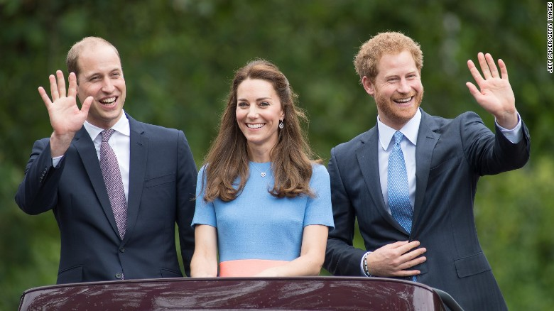 """Prince William, Duke of Cambridge, Catherine, Duchess of Cambridge and Prince Harry during """"The Patron's Lunch"""" celebrations for The Queen's 90th birthday."""