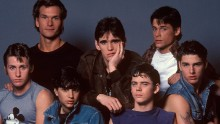 "The cast of ""The Outsiders"": (back row, l-r) Patrick Swayze, Matt Dillon, and Rob Lowe; (front row, l-r) Emilio Estevez, Ralph Macchio, Thomas Howell, and Tom Cruise, on set, March 1982."
