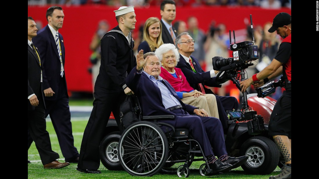 <strong>George H.W. Bush, born 1924: </strong>Bush was the 41st president of the United States, from 1989 to 1993. The Texas native and football fan rebounded from a case of pneumonia and joined his wife, Barbara Bush, for the coin toss at the Super Bowl in 2017.