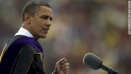 US President Barack Obama delivers the commencement address at the University of Michigan in Ann Arbor, Michigan, May 1, 2010.                   AFP  PHOTO/Jim WATSON (Photo credit should read JIM WATSON/AFP/Getty Images)