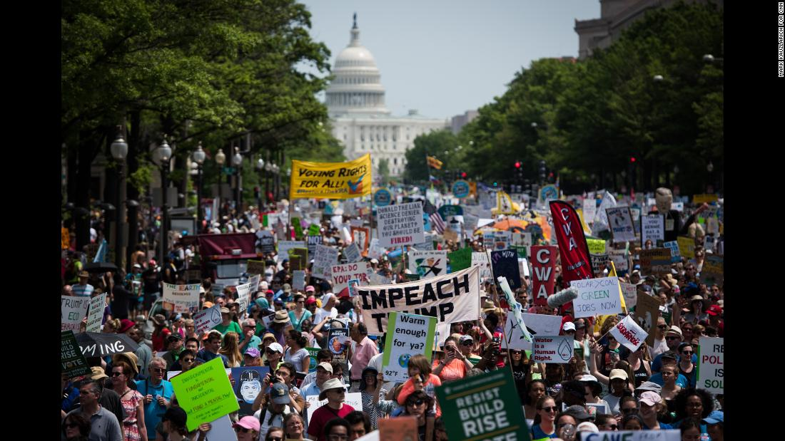 "The People's Climate March takes place in Washington on Saturday, April 29. The march, which coincided with President Donald Trump's 100th day in office, was a protest of Trump's environmental policies. Hundreds of sister marches took place across the United States and around the world. <a href=""http://www.cnn.com/2017/04/29/us/gallery/climate-marches/index.html"" target=""_blank"">See more photos from the climate marches</a>"