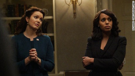 "Bellamy Young and Kerry Washington star in ""Scandal."""