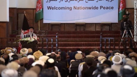 Hekmatyar addresses a special ceremony at the presidential palace in Kabul.