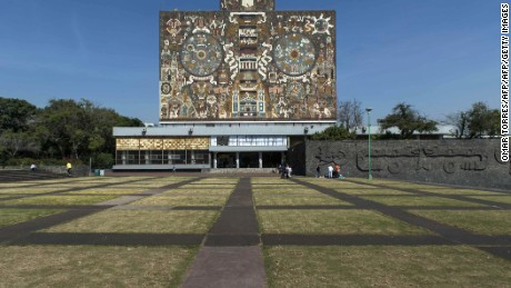 The Library building in the campus of UNAM (Universidad Nacional Autonoma de Mexico) on November 08, 2012 in Mexico City. AFP PHOTO/OMAR TORRES        (Photo credit should read OMAR TORRES/AFP/Getty Images)