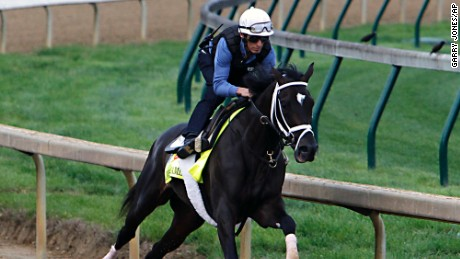 Jockey John Velazquez puts Kentucky Derby hopeful Always Dreaming through a workout at Churchill Downs in Louisville, Ky., Friday, Apr.28, 2017. Always Dreaming, trained by Todd Pletcher, is one of five colts eyeing the May 6th race in his care. (AP Photo/Garry Jones)