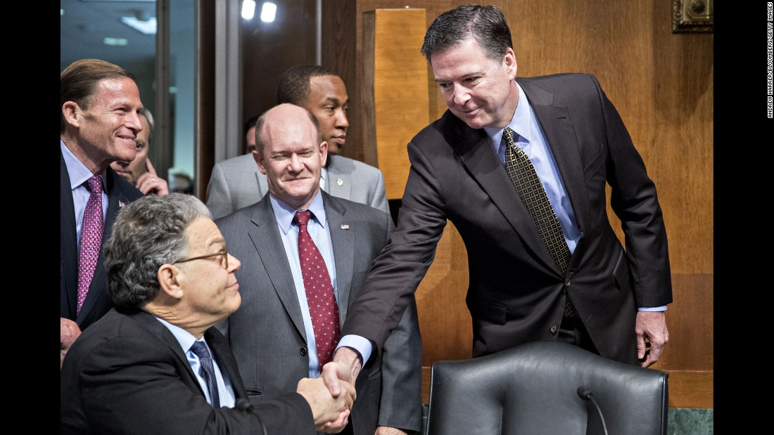 "FBI Director James Comey, right, shakes hands with US Sen. Al Franken before testifying in Washington on Wednesday, May 3. Comey <a href=""http://www.cnn.com/2017/05/03/politics/james-comey-senate-hearing/"" target=""_blank"">strongly defended his decision</a> to alert Congress -- just days before the 2016 election -- about the FBI's investigation into emails potentially related to Hillary Clinton's personal server. He told the Senate Judiciary Committee that while the idea of impacting the election made him ""mildly nauseous,"" he would not change what he did."