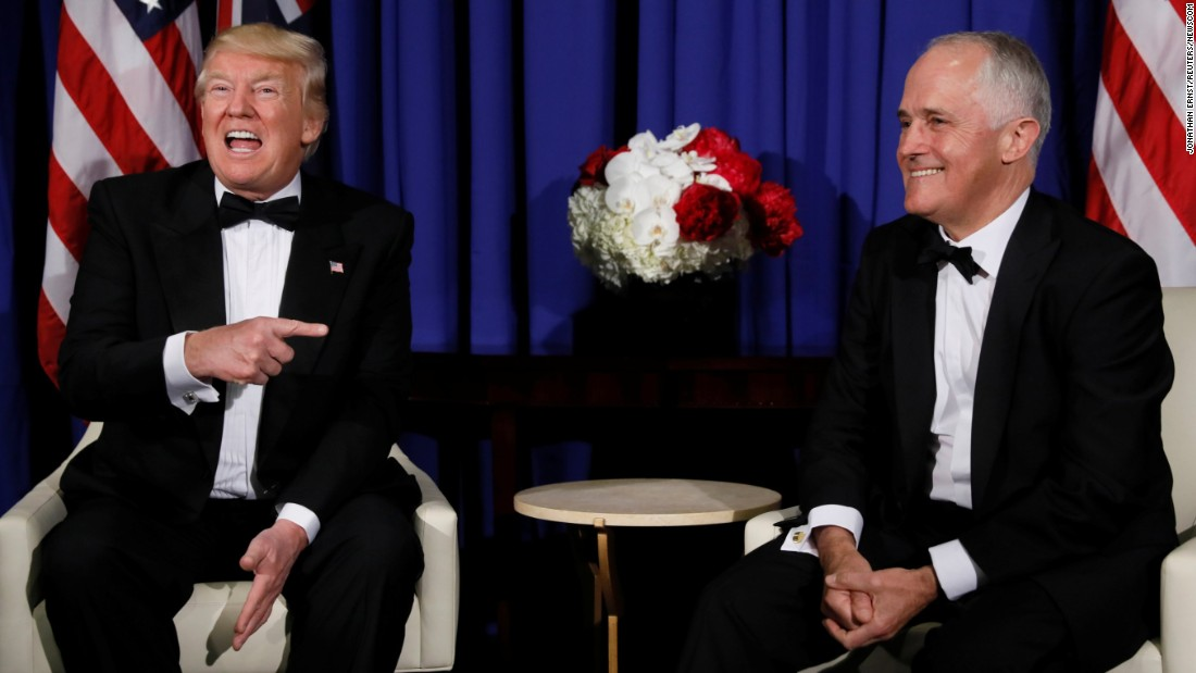 "Trump and Australian Prime Minister Malcolm Turnbull <a href=""http://www.cnn.com/2017/05/04/politics/trump-phone-call-australia-pm/"" target=""_blank"">speak to reporters in New York</a> before a gala aboard the USS Intrepid on Thursday, May 4. Trump said his relationship with Turnbull was ""fantastic"" and that reports of a heated phone call between the two was ""a big exaggeration."""