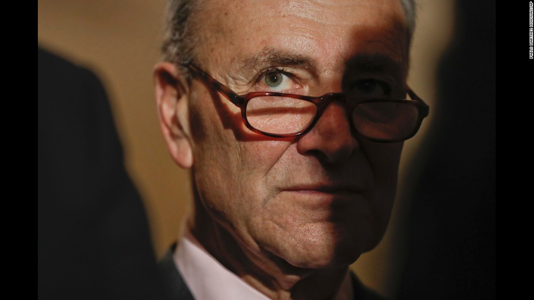 Senate Minority Leader Chuck Schumer listens to reporters' questions in Washington on Tuesday, May 2.