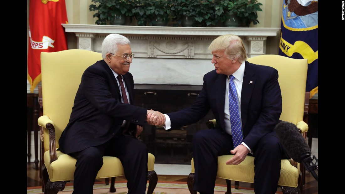 "President Trump shakes hands with Palestinian Authority President Mahmoud Abbas during <a href=""http://www.cnn.com/2017/05/03/politics/abbas-trump-white-house-meeting/"" target=""_blank"">a meeting at the White House Oval Office</a> on Wednesday, May 3. Trump vowed to work as a ""mediator, an arbitrator or a facilitator"" to help broker peace between the Israelis and Palestinians. Abbas welcomed Trump's role in peace negotiations."
