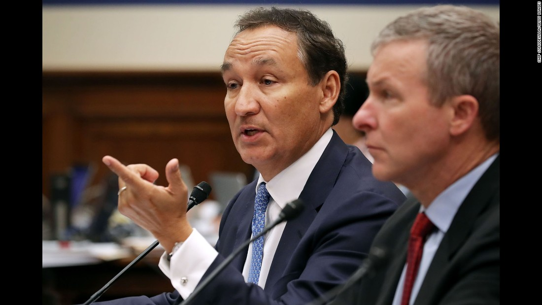 "United Airlines CEO Oscar Munoz, left, and United Airlines President Scott Kirby testify before the House Transportation and Infrastructure Committee on Tuesday, May 2. Munoz <a href=""http://money.cnn.com/2017/05/02/news/companies/united-ceo-munoz-congress/"" target=""_blank"">apologized again</a> for an April incident in which a United passenger was dragged off an overbooked flight in Chicago. At the hearing, there were also executives from American Airlines, Southwest Airlines and Alaska Airlines. Many committee members voiced frustration with their own flying experiences, and the committee's top Republican and Democrat told the executives they need to improve or face action by Congress."
