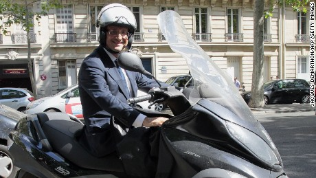 Francois Hollande, here after an official meeting, on his scooter in Paris in 2011.