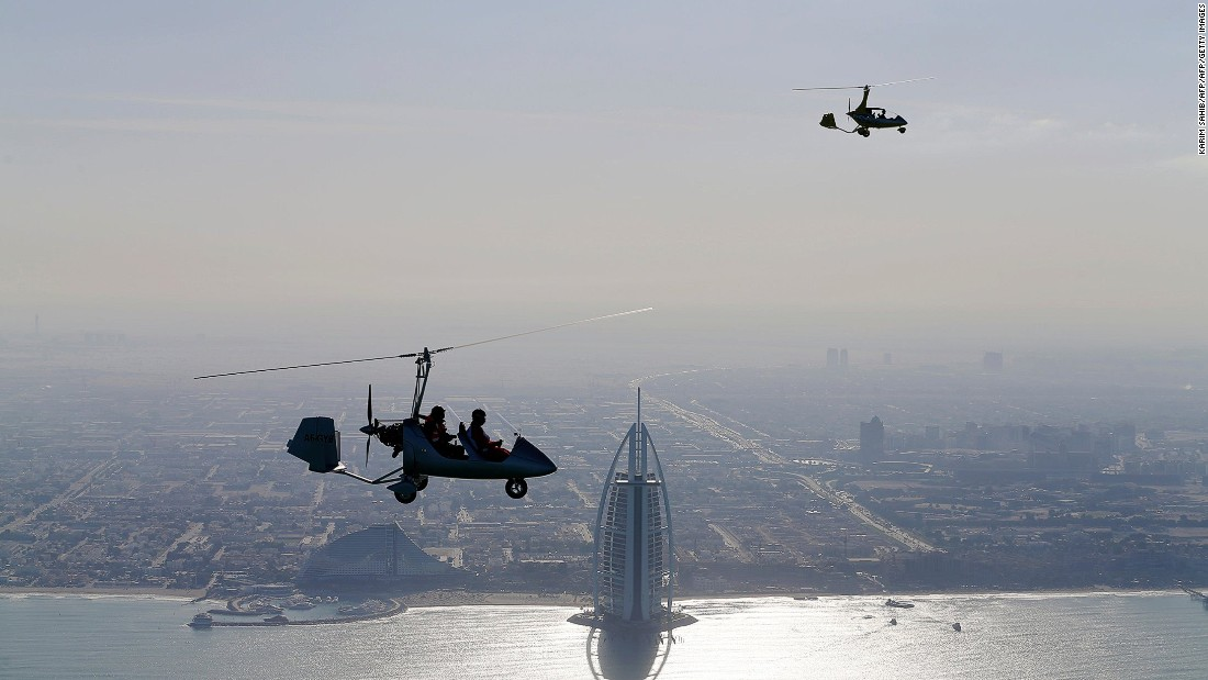 One of the best ways to see Dubai's epic skyline is by gyrocopter. Reach dizzying heights and look on at the iconic Burj Al Arab hotel.