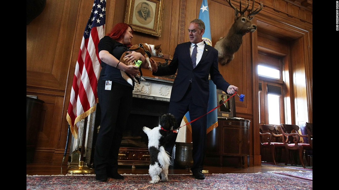 "US Interior Secretary Ryan Zinke and his dog Ragnar greet an employee and her dog in Zinke's office on Friday, May 5. The Interior Department was holding its first ""Take Your Dog to Work Day."""