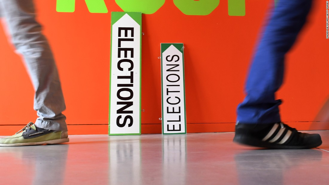 Election signs at a polling station in Rennes, France on May 7.