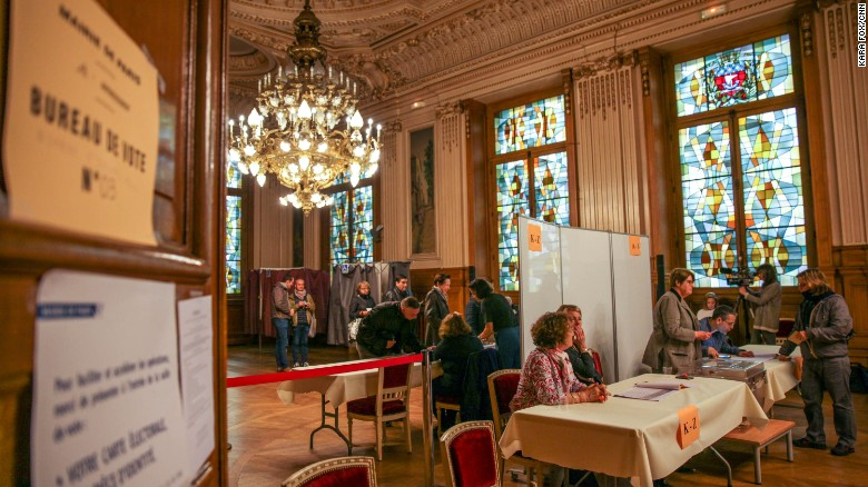 A polling station set up at the town hall in Paris's 18th district.
