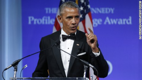 "WASHINGTON, DC - MAY 7:  Former U.S. President Barack Obama speaks after receiving the 2017 John F. Kennedy Profile In Courage Award from Caroline Kennedy at the John F. Kennedy Library May 7, 2017 in Boston, Massachusetts. Obama was honored for ""his enduring commitment to democratic ideals and elevating the standard of political courage in a new century,"" with specific mention of his expansion of healthcare options, his leadership on confronting climate change and his restoration of diplomatic relations with Cuba.  (Photo by CJ Gunther-Pool/Getty Images)"