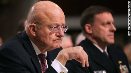Director of National Intelligence James Clapper and United States Cyber Command and National Security Agency Director Admiral Michael Rogers testify before the Senate Armed Services Committee in the Dirksen Senate Office Building on Capitol Hill January 5, in Washington, DC.