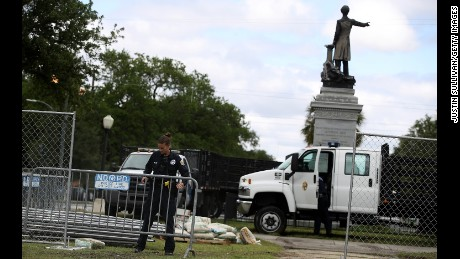 New Orleans police  set up barricades at the Davis monument last week.