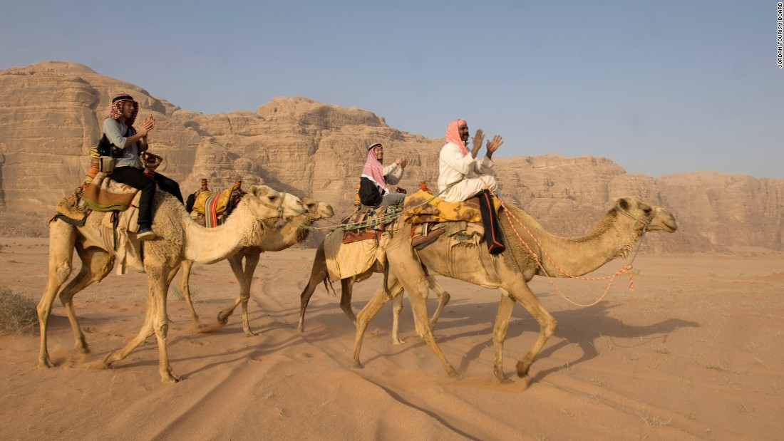 <strong>Local transport: </strong>A popular way to travel through the vast Wadi Rum is by camel caravan.