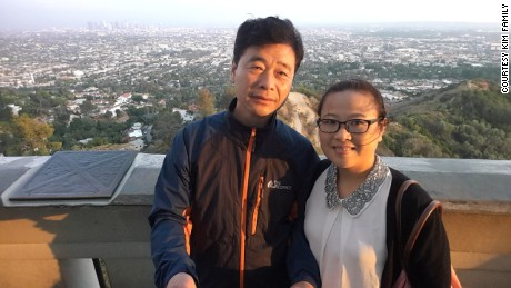 Kim Hak-song, left, and his wife, Kim Mi-ok, in a photo provided to CNN by the family.