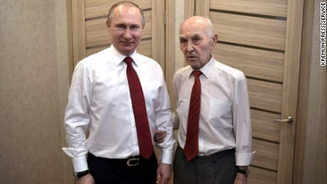 Russia's current boss with his former KGB boss, Lazar Matveyev