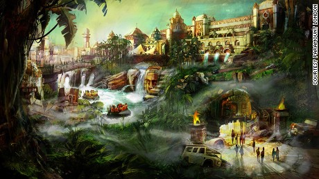 The designs for Adventure Isle, a section of the planned Paramount London theme park.