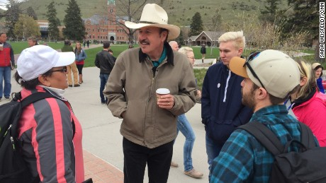 Democratic candidate Rob Quist greets voters in Missoula, MT at campaign event on the University of Montana campus on April 27, 2017.