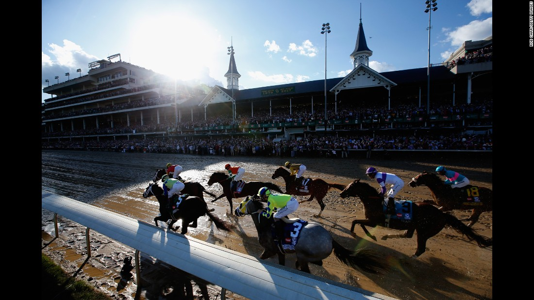 "Horses head to the first turn at the start of <a href=""http://www.cnn.com/2017/05/06/sport/kentucky-derby-international/index.html"" target=""_blank"">the Kentucky Derby</a> on Saturday, May 6. The race was won by co-favorite Always Dreaming, ridden by John Velazquez."