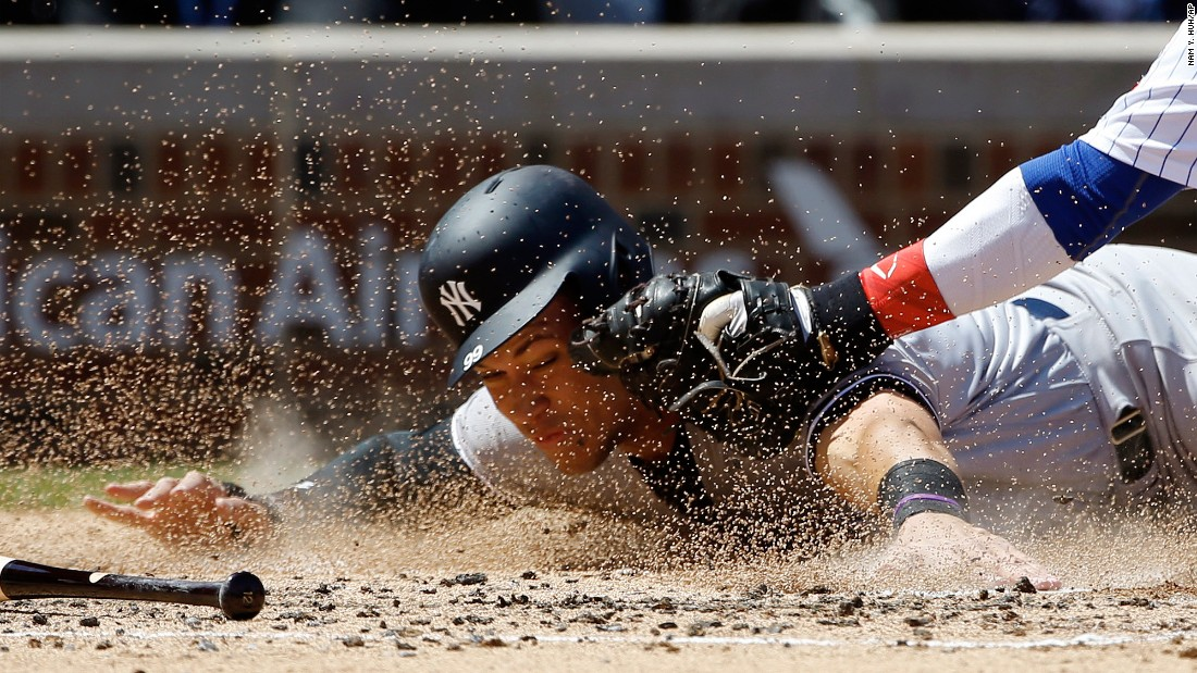"New York Yankees slugger Aaron Judge is tagged out by Chicago Cubs catcher Willson Contreras on Friday, May 5. Judge is off to<a href=""http://www.upi.com/Sports_News/MLB/2017/05/03/Aaron-Judge-continues-hot-streak-with-two-home-runs-as-New-York-Yankees-beat-Toronto-Blue-Jays/8681493823216/"" target=""_blank""> a hot start,</a> leading the majors in home runs as of Monday, May 8."