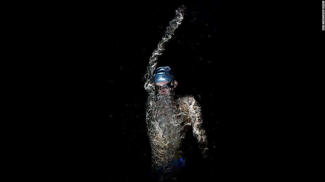 Swimmer Chase Kalisz warms up before an Arena Pro Series race in Atlanta on Sunday, May 7.