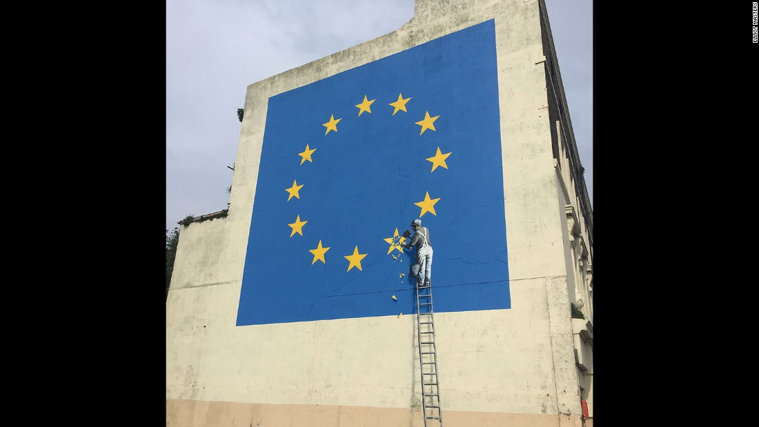 The artwork was completed overnight on Sunday in the town of Dover, England.
