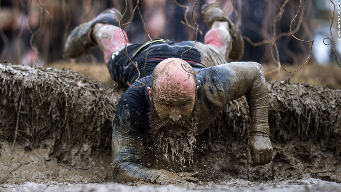 A man competes in a Tough Mudder race Saturday, May 6, in Henley-on-Thames, England.