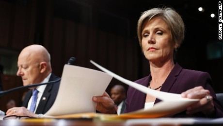 "Former acting Attorney General Sally Yates, right, and former National Intelligence Director James Clapper, prepare to testify on Capitol Hill in Washington, Monday, May 8, 2017, before the Senate Judiciary subcommittee on Crime and Terrorism hearing: ""Russian Interference in the 2016 United States Election."" (AP Photo/Carolyn Kaster)"