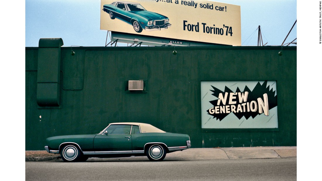 The car is not only the subject of many of the photographs from this series but also the means that enabled Eggleston to take them. He originally planned on exhibiting the photographs from this series in a non-hierarchical manner with no commentary or titles, but the project was put aside until 2003 when it was finally shown at the Ludwig Museum.