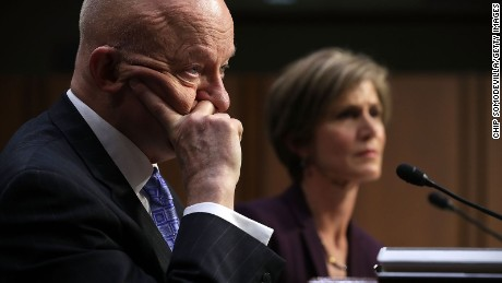 Former Director of National Intelligence James Clapper (L) and former acting U.S. Attorney General Sally Yates testify before the Senate Judiciary Committee's Subcommittee on Crime and Terrorism in the Hart Senate Office Building on Capitol Hill May 8, 2017 in Washington, DC.