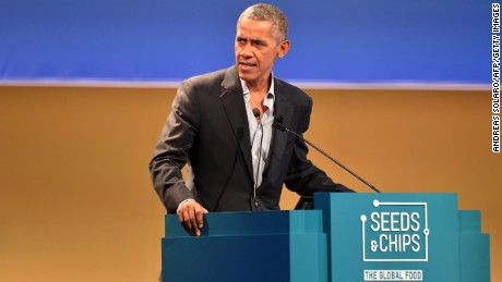 "US former President Barack Obama delivers a speech during the third edition of ""Seed & Chips: The Global Food Innovation Summit"" focusing on new technologies for feeding the globe, from agriculture to distribution, on May 9, 2017 in Milan."