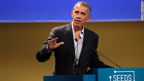 "United States former President Barack Obama talks during the ""Seeds&Chips - Global Food Innovation"" summit, in Milan, Tuesday, May 9."