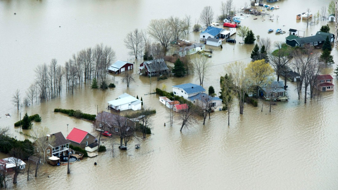 The Ottawa River floods homes in Rigaud, Quebec, on May 8. There were mandatory evacuations in Rigaud as well as Pontiac and Montreal.