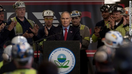 SYCAMORE, PA - APRIL 13:  U.S. Environmental Protection Agency Administrator Scott Pruitt speaks with coal miners at the Harvey Mine on April 13, 2017  Sycamore, Pennsylvania. The Harvey Mine, owned by CNX Coal Resources, is part of the largest underground mining complex in the United States.  (Photo by Justin Merriman/Getty Images)