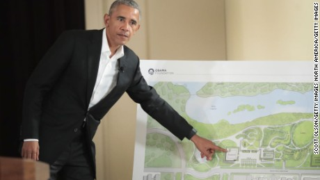 CHICAGO, IL - MAY 03:  Former President Barack Obama points out features of the proposed Obama Presidential Center, which is scheduled to be built in nearby Jackson Park, during a gathering at the South Shore Cultural Center on May 3, 2017 in Chicago, Illinois. The Presidential Center design envisions three buildings, a museum, library and forum. Obama was accompanied at the event by his wife Michelle who was making her first trip back to Chicago since leaving the White House in January.  (Photo by Scott Olson/Getty Images)