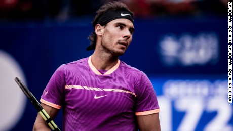 BARCELONA, SPAIN - APRIL 29: (EDITOR'S NOTE: This image has been processed using digital filters) Rafael Nadal of Spain looks on during his semifinal match against Horacio Zeballos of Argentinaon day six of the Barcelona Open Banc Sabadell on April 29, 2017 in Barcelona, Spain. (Photo by Alex Caparros/Getty Images)