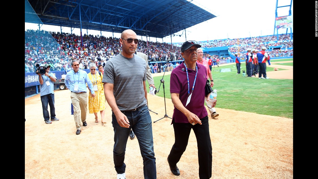 Jeter attends a baseball game in Havana, Cuba, in March 2016. The Cuban national team was playing the Tampa Bay Rays in a special exhibition.