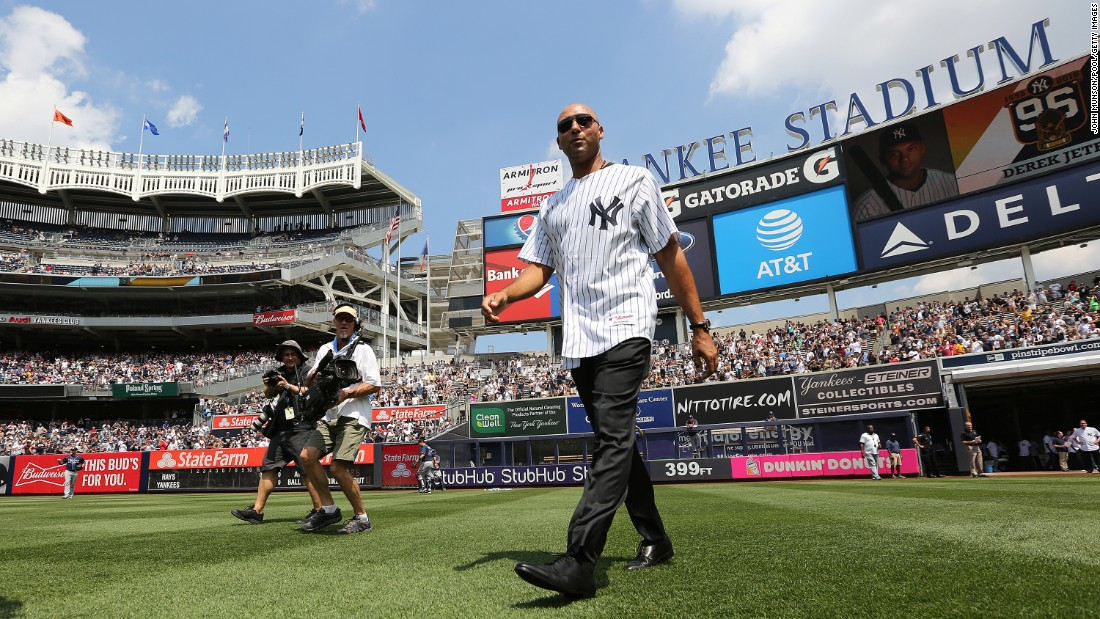 In August 2016, Jeter is introduced during a Yankees ceremony honoring the 1996 championship team.