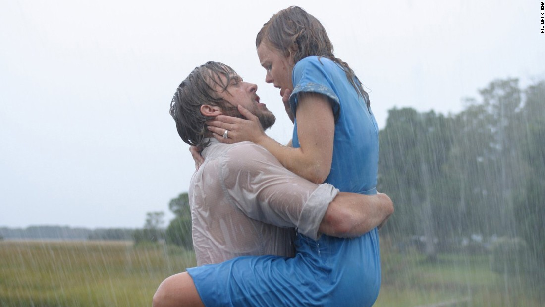"Best kiss in the rain? Many vote for this poignant and passionate moment between Noah (Ryan Gosling) and Allie (Rachel McAdams) in ""The Notebook"" (2004). Just as emotional: the way their characters reconnect at the end of the movie, just before they die."