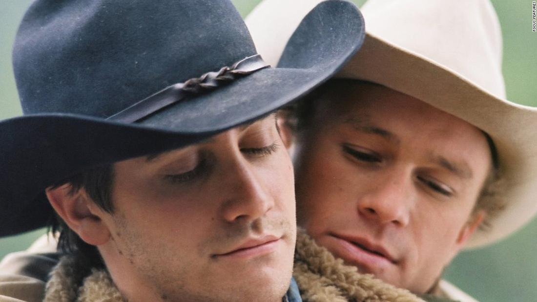"It was a secret, and it cost one of the cowboys his life, but the power of love was clear between Jack (Jake Gyllenhaal, left) and Ennis (Heath Ledger) in the 2005 film ""Brokeback Mountain."""