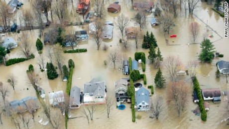Flooded homes in Rigaud, Quebec.