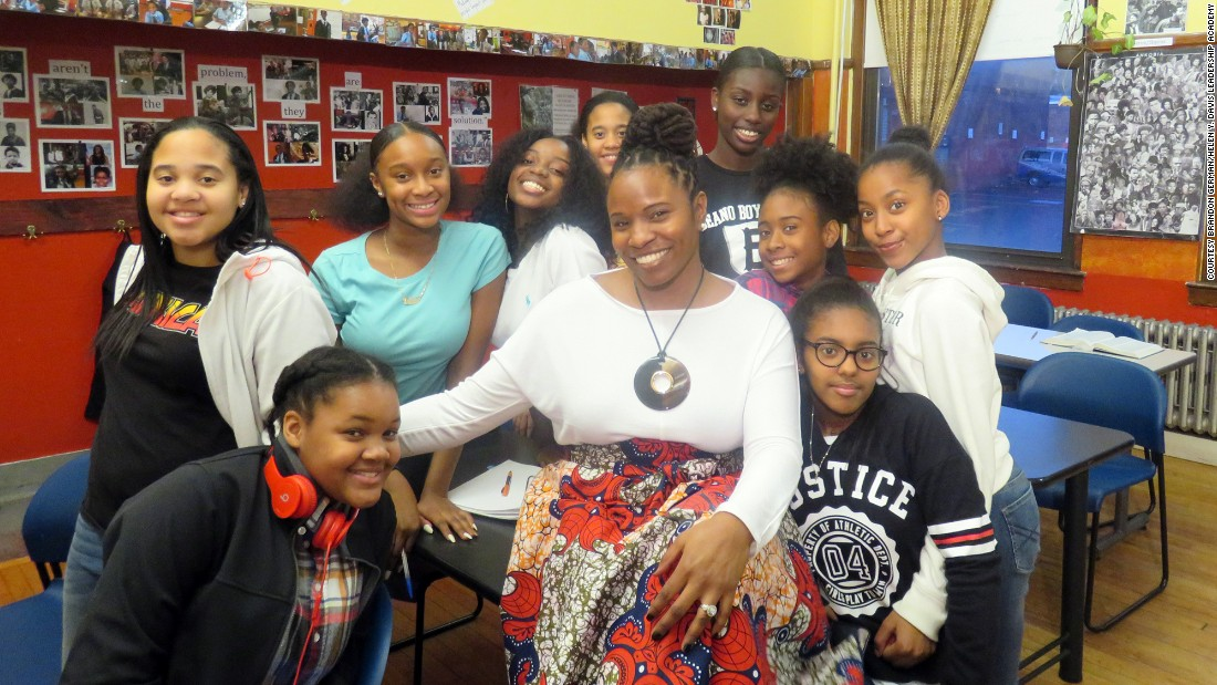 "Lovely Hoffman and her students on the set of the video for her song, ""My Black is Beautiful.""  Photo courtesy of Brandon German."
