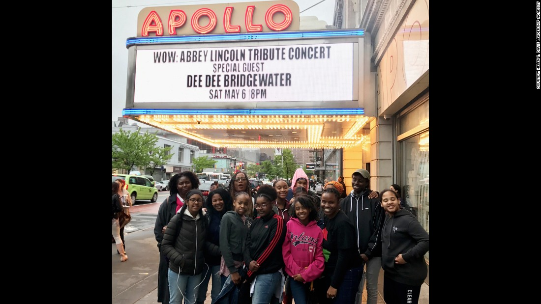 Hoffman and her students at the Apollo Theater in Harlem.