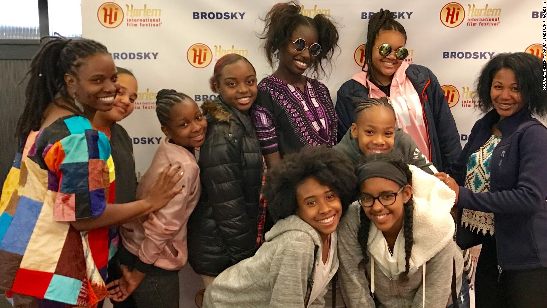 Hoffman and students at the Harlem International Film Festival in New York.