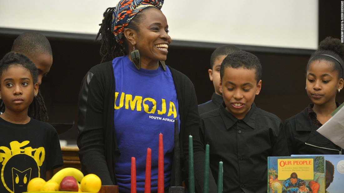 Hoffman and her students celebrate Kwanzaa at their suburban Boston school, the Helen Y. Davis Leadership Academy.